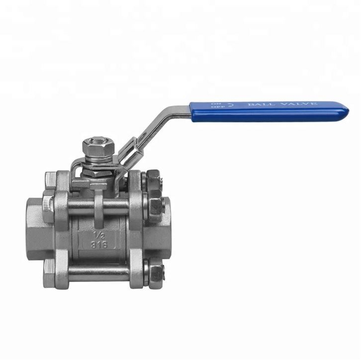 Acid Heat Resistant Stainless Steel Full Port 3 Pc Threaded Ball Valve