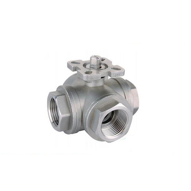 Stainless Steel NPT BSPT BSP 3 Way Ball Valve With Mounting Pad 1000WOG